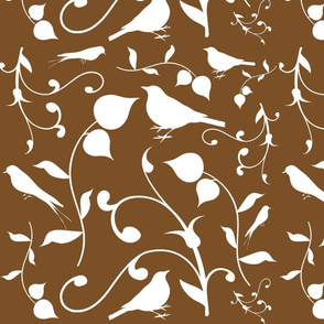 Swirly Bird Large Print Brown