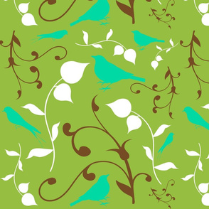 Swirly Bird Large Print Multi Olive