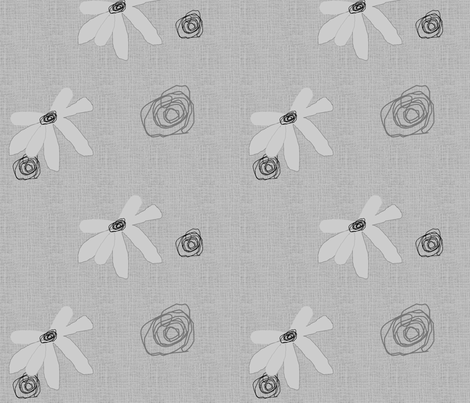 FUNKY FLOWERS-Gray-194 fabric by kkitwana on Spoonflower - custom fabric