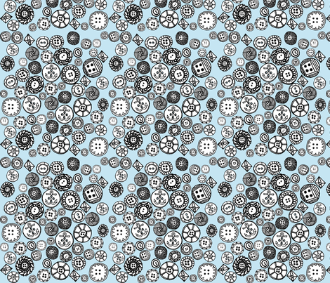 Buttons (blue) fabric by anda on Spoonflower - custom fabric