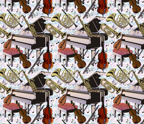 opus music sushi fabric by lacefairy on Spoonflower - custom fabric