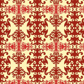 SCK Damask Red Cream