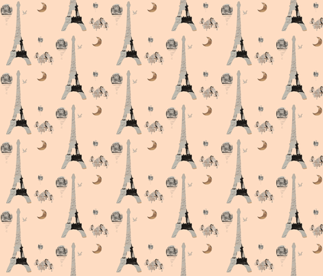 Paris Peach  fabric by karenharveycox on Spoonflower - custom fabric