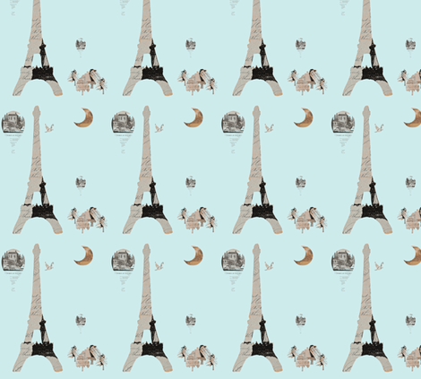 Paris Aqua fabric by karenharveycox on Spoonflower - custom fabric