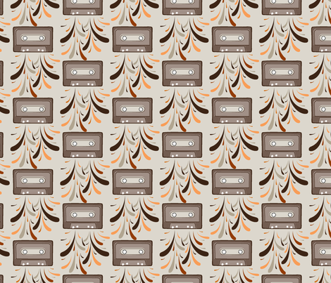 Cassette Explosion Retro fabric by daniellerenee on Spoonflower - custom fabric