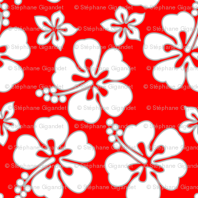 Hawaiian Hibiscus - White on Red