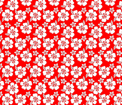 Hawaiian Hibiscus - White on Red fabric by stephane on Spoonflower - custom fabric