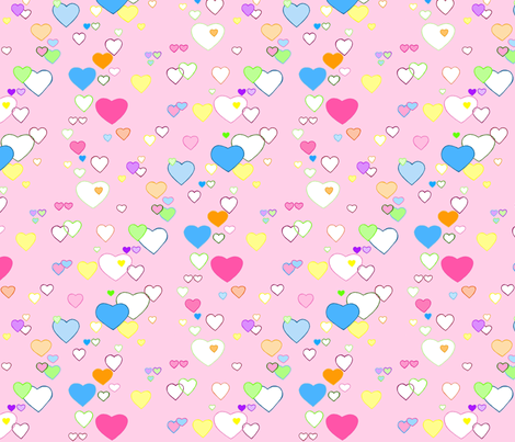 Rainbow Hearts fabric by pocketcarnival on Spoonflower - custom fabric