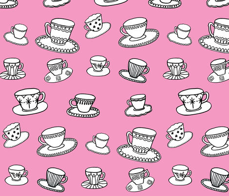 pink teacups fabric by leonielovesyou on Spoonflower - custom fabric