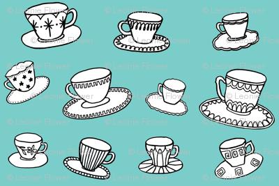 turquoise teacups