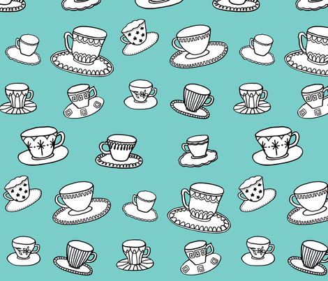 turquoise teacups fabric by leonielovesyou on Spoonflower - custom fabric