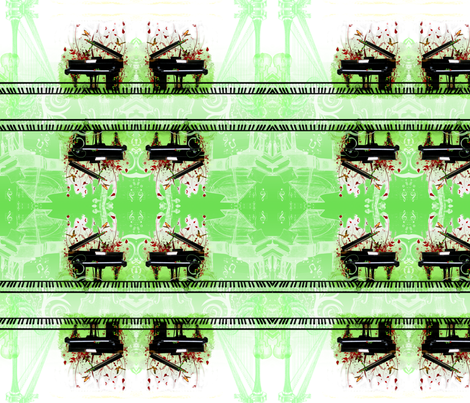 classical piano green fabric by michiela on Spoonflower - custom fabric