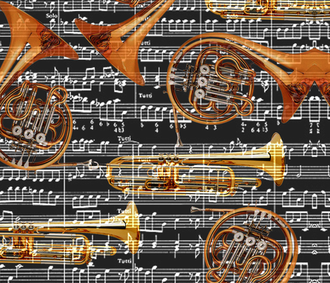 Musical Brass fabric by dreamycatz on Spoonflower - custom fabric