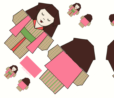 Origami Kimono Girls fabric by kdl on Spoonflower - custom fabric