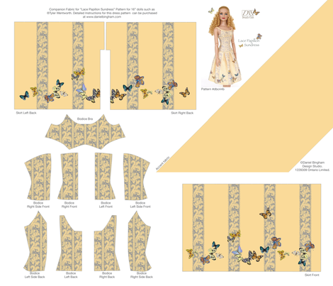 "Lace Papillon Sundress for 16"" dolls fabric by danielbingham on Spoonflower - custom fabric"