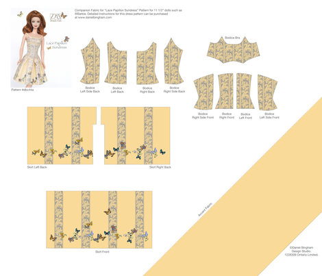 "Lace Papillon Sundress for 11 1/2"" dolls fabric by danielbingham on Spoonflower - custom fabric"