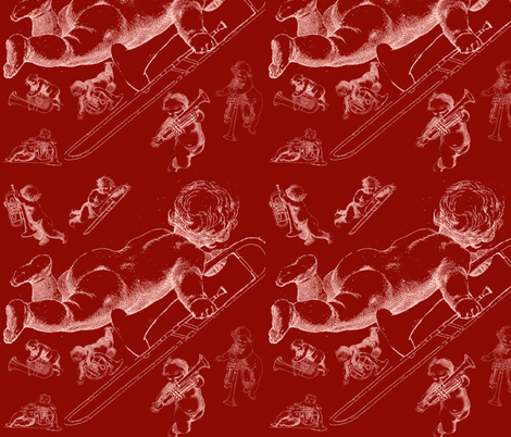 rotrosa Engelgewusel fabric by wasandres on Spoonflower - custom fabric