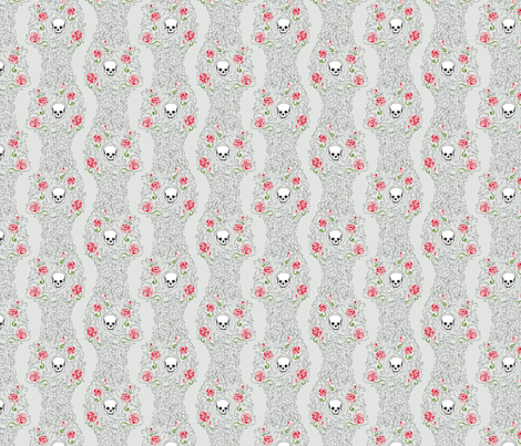 Where the Wild Roses Grow (Light Grey Small) fabric by leighr on Spoonflower - custom fabric