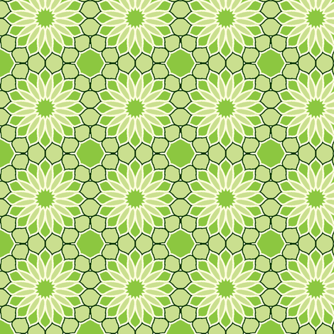 Rock Daisies - Bamboo Green fabric by inscribed_here on Spoonflower - custom fabric