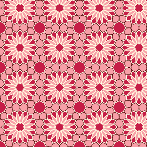Rock Daisies - Rose Red fabric by inscribed_here on Spoonflower - custom fabric