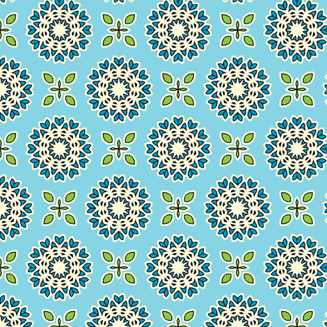 Full Bloom - Sky Blue fabric by inscribed_here on Spoonflower - custom fabric
