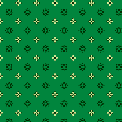 Starry Petals - Bamboo Green fabric by inscribed_here on Spoonflower - custom fabric