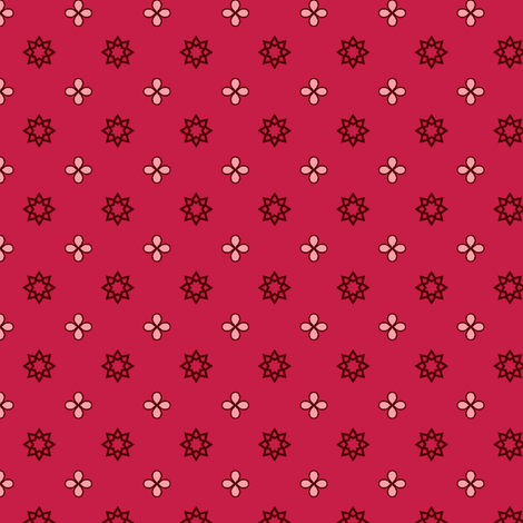 Starry Petals - Rose Red fabric by inscribed_here on Spoonflower - custom fabric