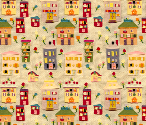 Felt Houses fabric by juliamonroe on Spoonflower - custom fabric