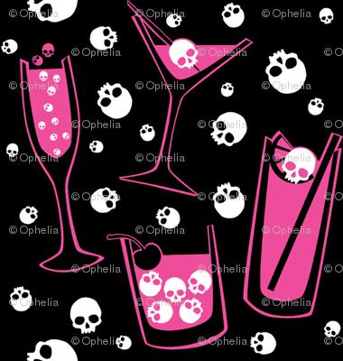 Retro Skull Cocktails (pink on black)