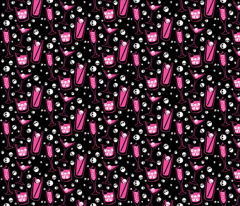 Retro Skull Cocktails (pink on black) fabric by ophelia on Spoonflower - custom fabric