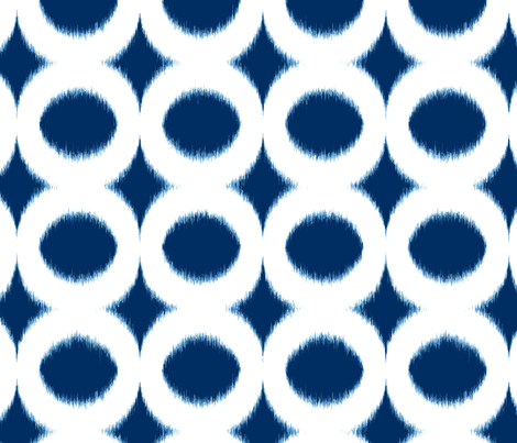 Navy circle Ikat fabric by domesticate on Spoonflower - custom fabric