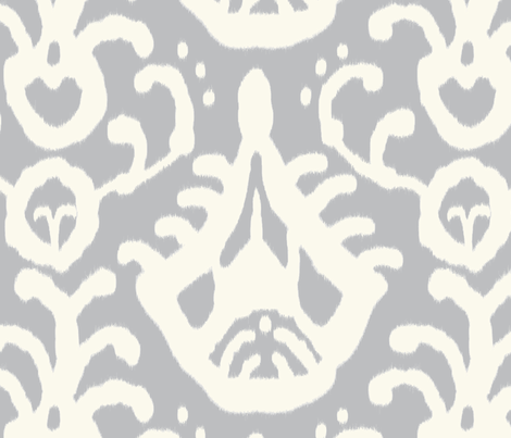 gray cream ikat fabric by domesticate on Spoonflower - custom fabric