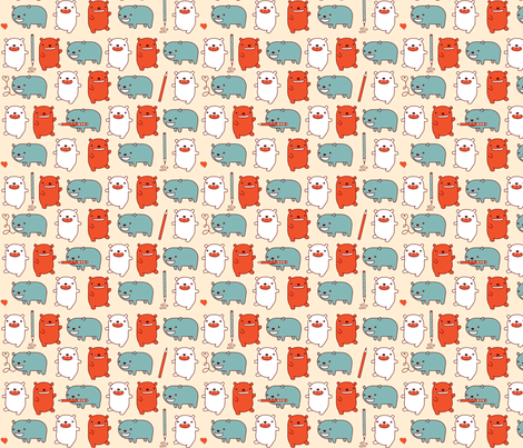 Happy Bears Take Note fabric by marilynpatrizio on Spoonflower - custom fabric