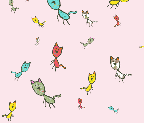 Kaids_Kitty_PINK fabric by 2munkeez on Spoonflower - custom fabric