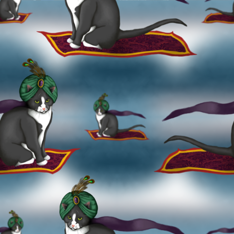 Magic Carpet Cat fabric by leeleeandthebee on Spoonflower - custom fabric