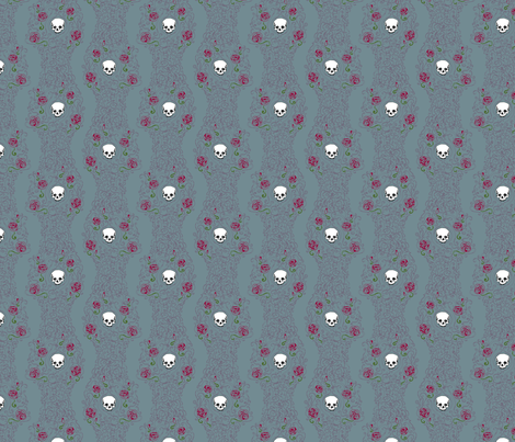 Where the Wild Roses Grow (Moody Blue Small) fabric by leighr on Spoonflower - custom fabric