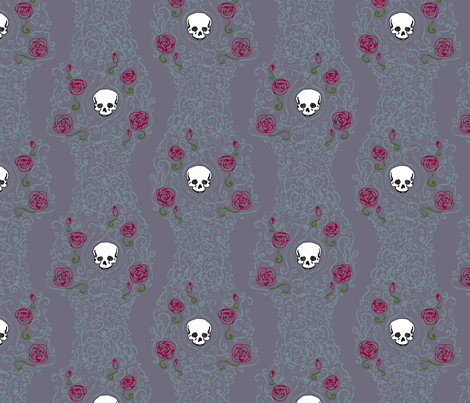 Where the Wild Roses Grow (Moody Purple) fabric by leighr on Spoonflower - custom fabric
