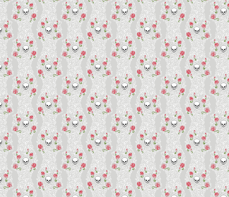 Where the Wild Roses Grow (Grey/White Small) fabric by leighr on Spoonflower - custom fabric
