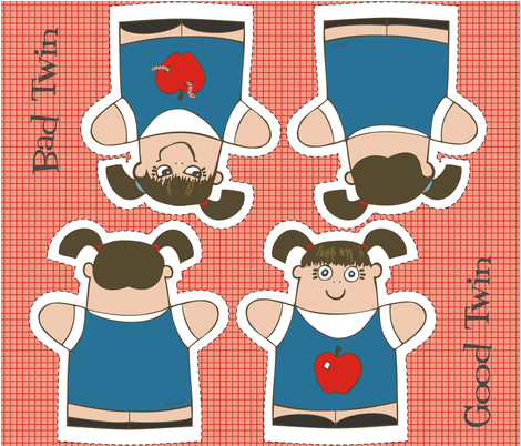Good Twin/Bad Twin Puppets fabric by lulakiti on Spoonflower - custom fabric
