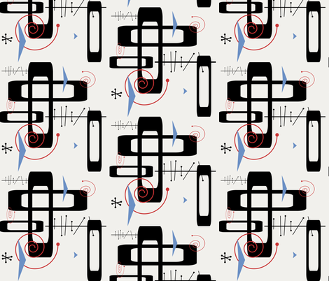 Retro white fabric by poetryqn on Spoonflower - custom fabric