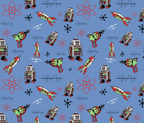 Retro Space II fabric by poetryqn on Spoonflower - custom fabric