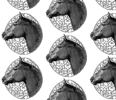 Morgan Horse Head on Scrollwork fabric by ravenwoodstudiodesigns on Spoonflower - custom fabric