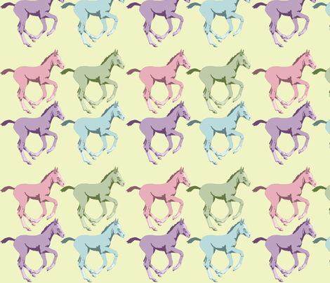 Colorful Foals on Soft Yellow Background fabric by theartfulhorse on Spoonflower - custom fabric