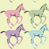 Colorful Foals on Soft Yellow Background