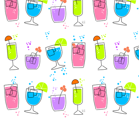 cocktails_-_white_bg fabric by kii on Spoonflower - custom fabric
