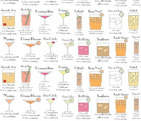 cocktailA-Z fabric by babysisterrae on Spoonflower - custom fabric