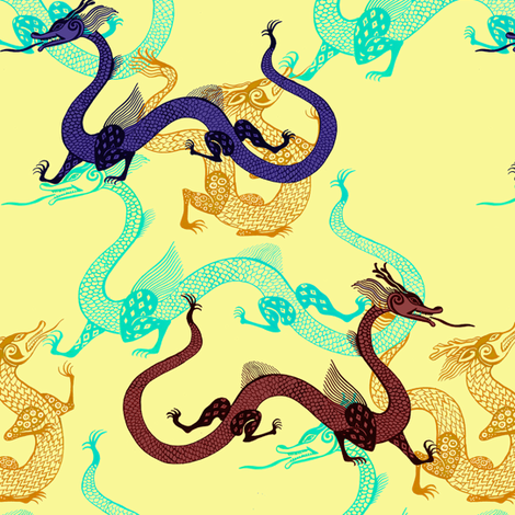 Multicolored Dragons fabric by eva_the_hun on Spoonflower - custom fabric