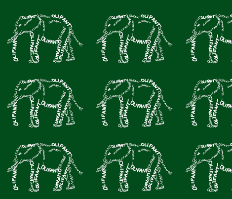 Olifant Calligram 1 fabric by blue_jacaranda on Spoonflower - custom fabric