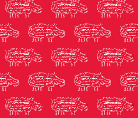 Hippo Calligram fabric by blue_jacaranda on Spoonflower - custom fabric
