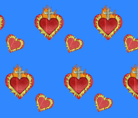 bluesacredhearts fabric by nightgarden on Spoonflower - custom fabric